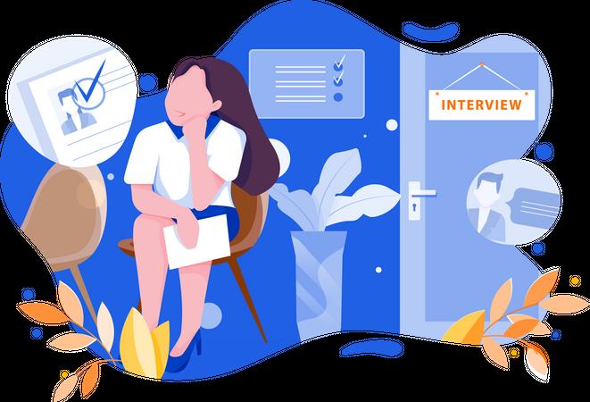 Nervousness of interview Illustration