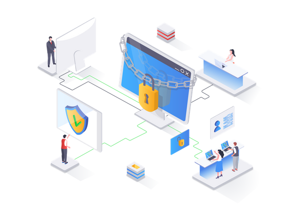 Network cybersecurity solution Illustration