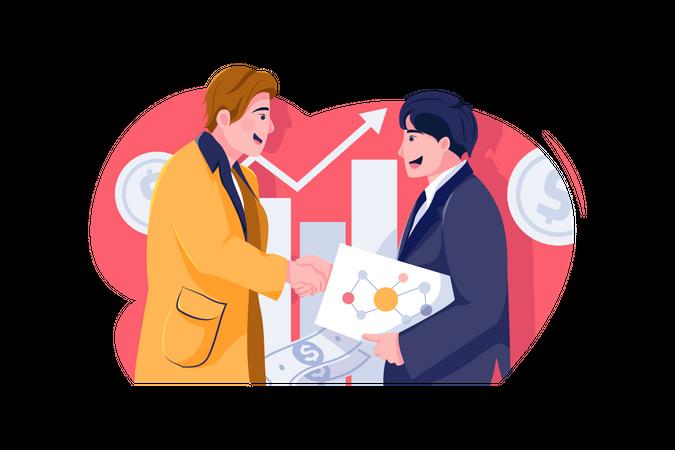 New businessman handshaking with investor Illustration
