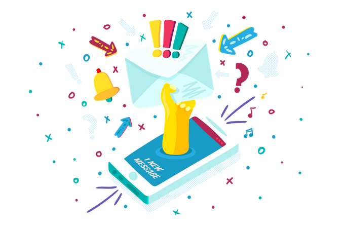 New Message Notification in smartphone Illustration