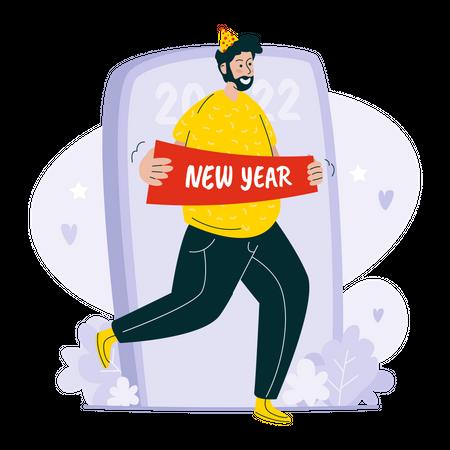 New year 2022 greetings Illustration