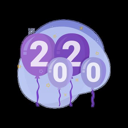 New year balloon 2020 Illustration