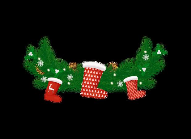 New Year Decoration Spruce Branch, Santa Stockings Illustration