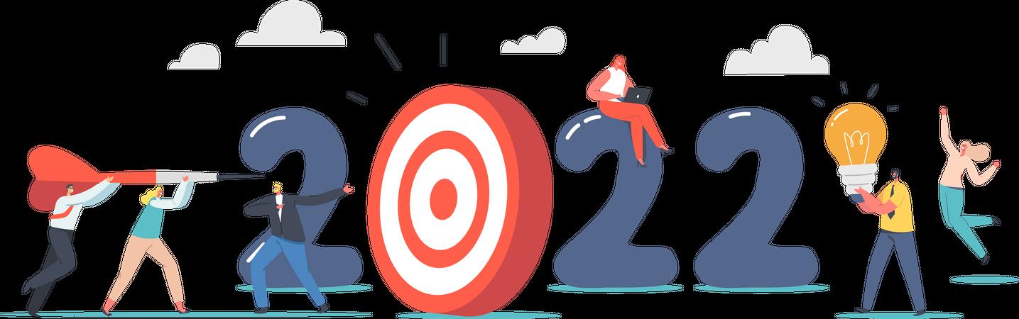 New Year Goal Achievement Illustration