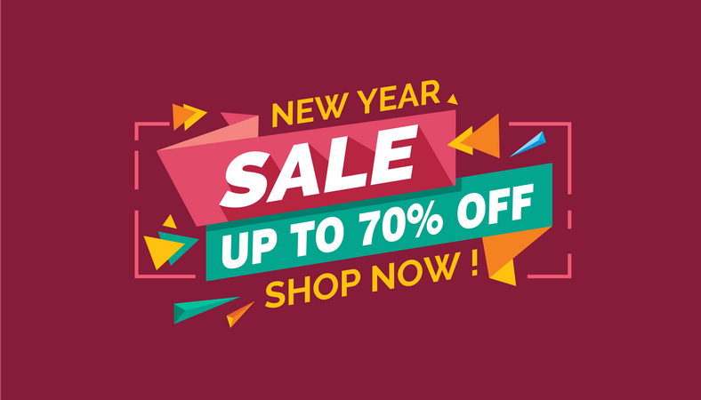 New Year Sale, Colorful Sale Banner Label, Discount Sale, Promo Sale Card Illustration