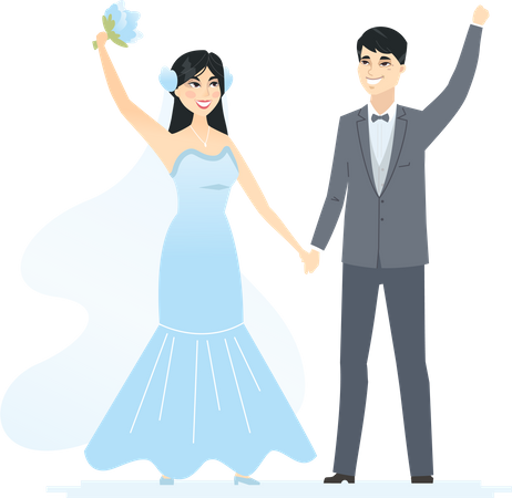 Newly married Chinese couple Illustration