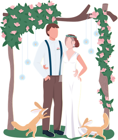 Newly married couple Illustration