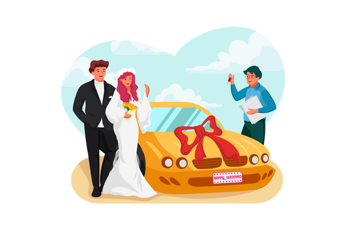 Newly wedded couple received car on wedding day Illustration