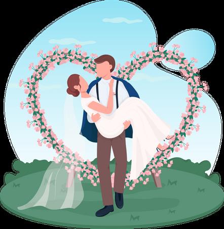 Newlywed couple Illustration