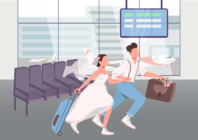 Newlyweds in airport terminal Illustration