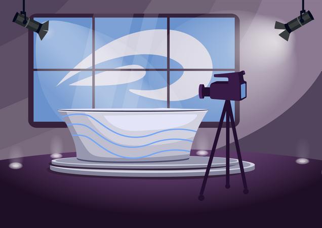 News program shooting stage Illustration
