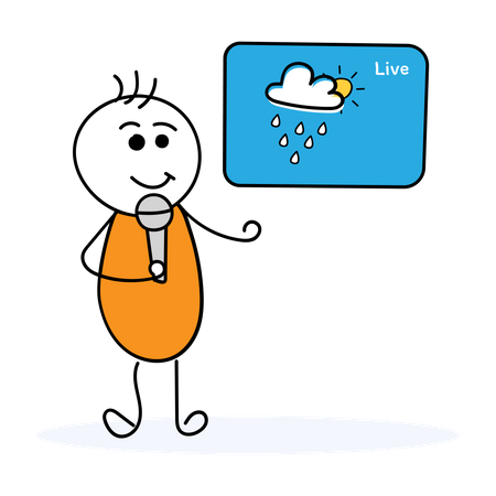News reporter giving weather update Illustration