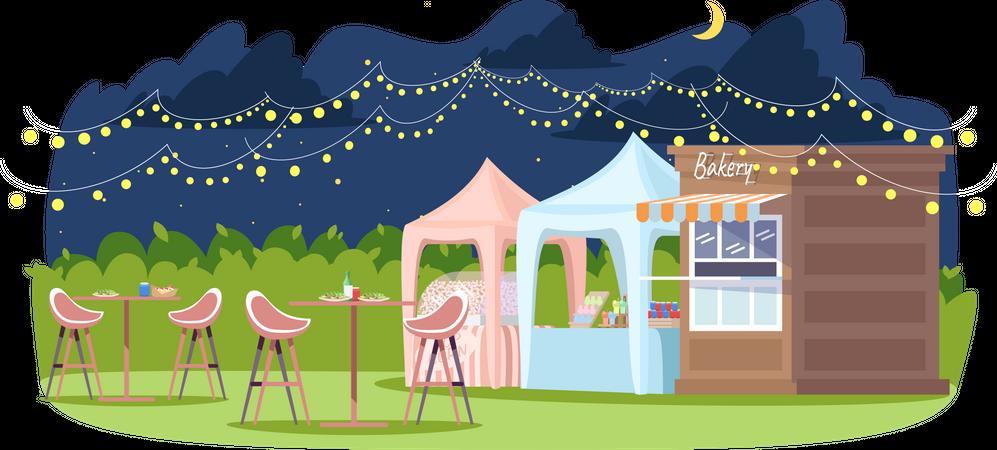 Night food fest Illustration