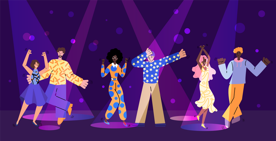 Nightclub party scene with people characters in sketch style vector illustration. Illustration
