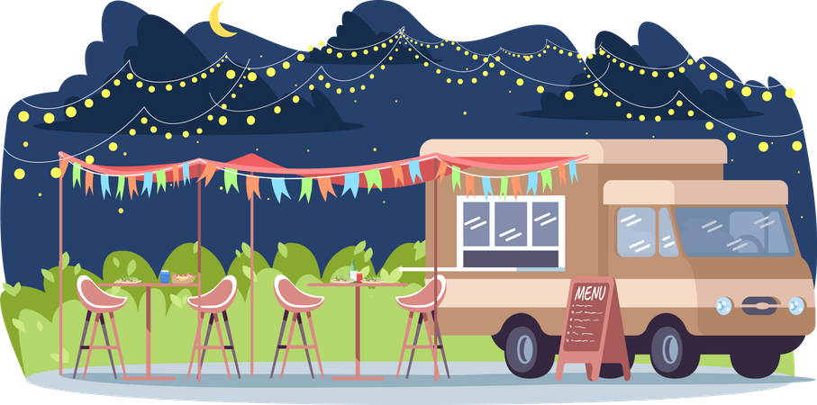 Nighttime food event Illustration