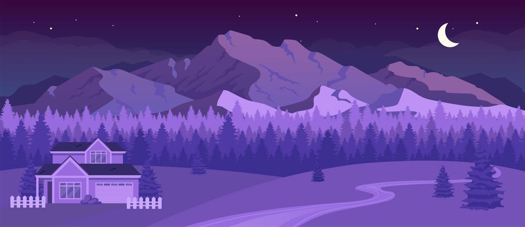 Nighttime mountains Illustration