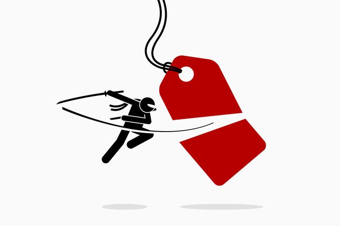 Ninja cuts and slash a price tag into half Illustration