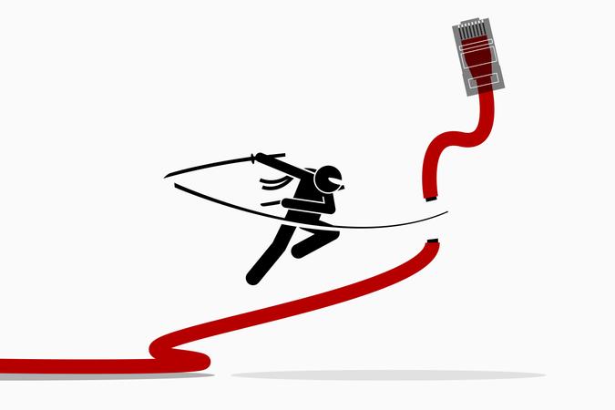 Ninja cuts Ethernet LAN network cable Illustration
