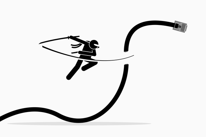 Ninja cuts telephone cable Illustration