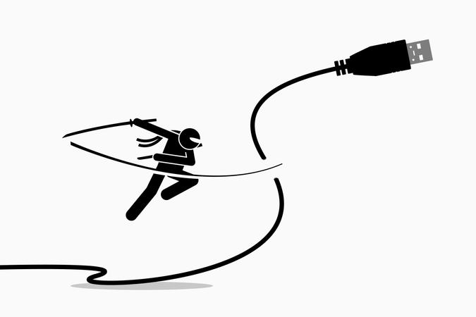 Ninja cuts USB cable plug Illustration
