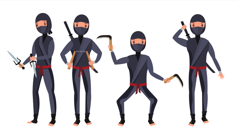 Ninja Warrior In Black Suit Showing Different Actions With Weapons Illustration