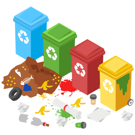 No Use of Recycle garbage bins Illustration
