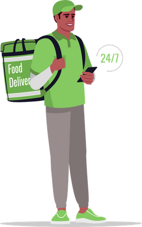 Non stop food delivery Illustration