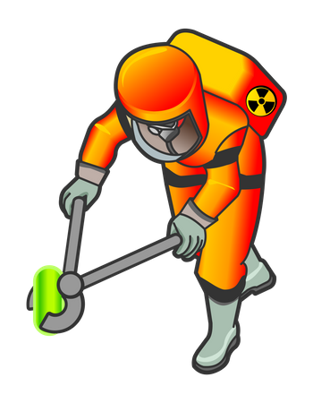 Nuclear Worker holding radioactive object with fire tongs Illustration