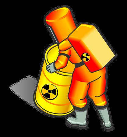 Nuclear Worker Moving radioactive barrel Illustration