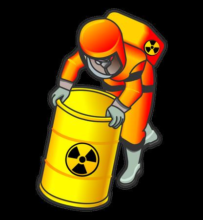 Nuclear Worker pushing radioactive barrel Illustration