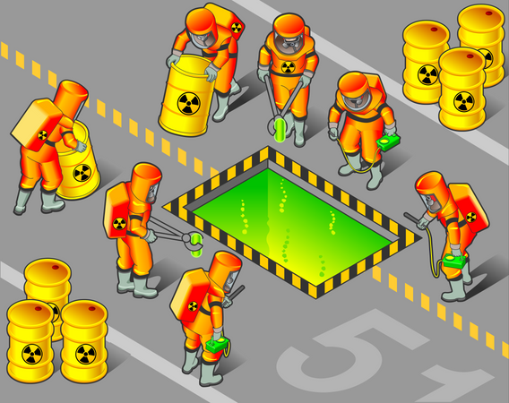 Nuclear Worker putting radioactive objects into safe chemical Illustration