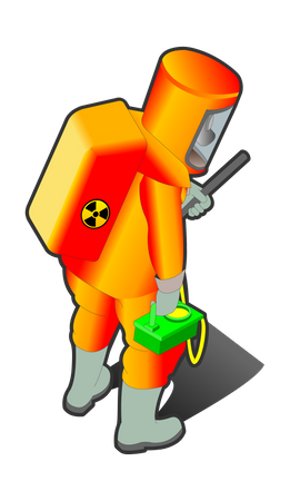 Nuclear Worker with nuclear equipment checking or analyzing Illustration