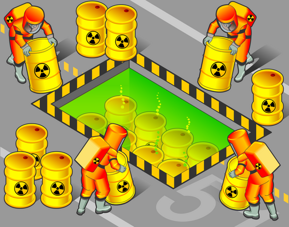 Nuclear Workers Moving radioactive barrels to chemical place Illustration