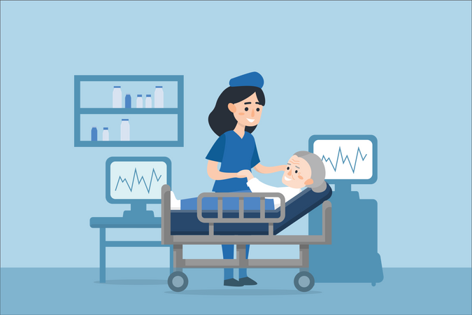Nurse caring old aged woman after or before medical treatment Illustration