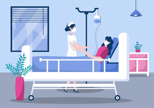 Nurse doing checkup of patient Illustration