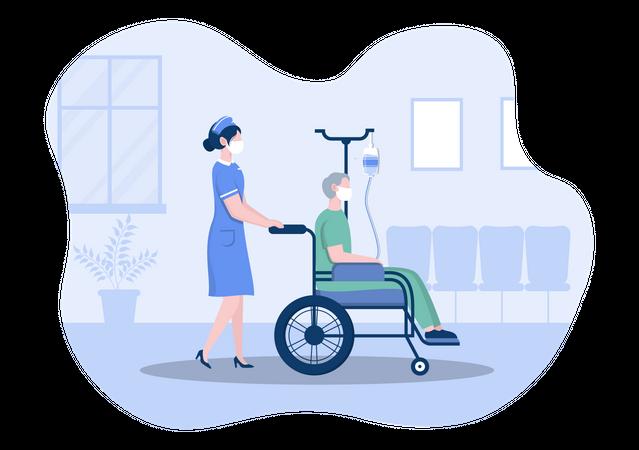 Nurse helping handicapped Patient Illustration