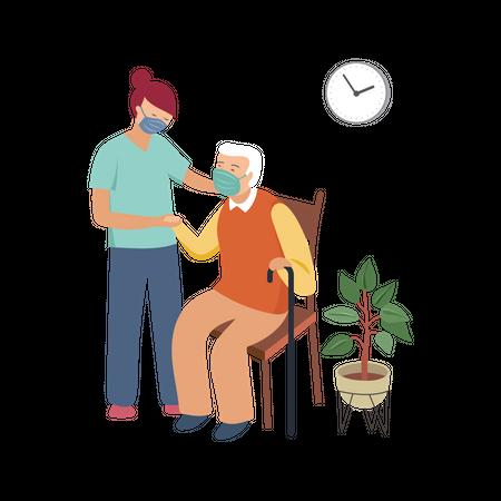 Nurse helping old man Illustration