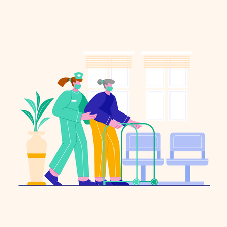 Nurse helping old woman Illustration