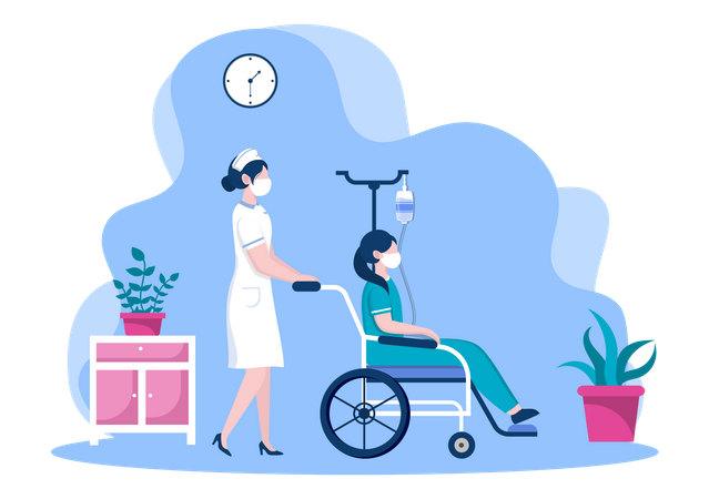 Nurse helping Patient with Wheelchair Illustration