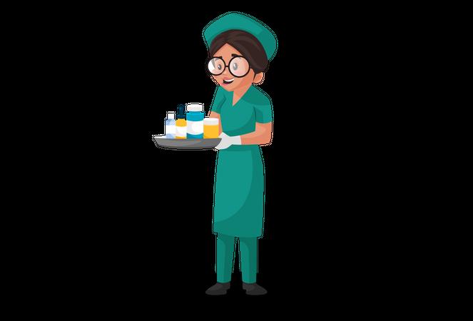 Nurse holding medicine tray Illustration