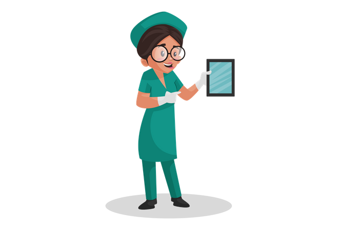 Nurse promoting digitalization in medical field Illustration