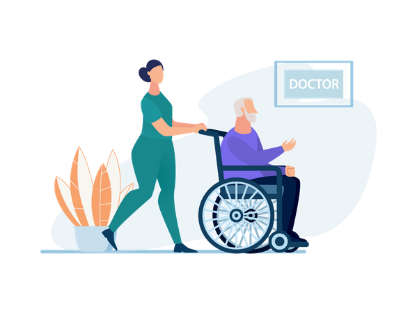 Nurse pushing old man on wheel chair to the doctor Illustration