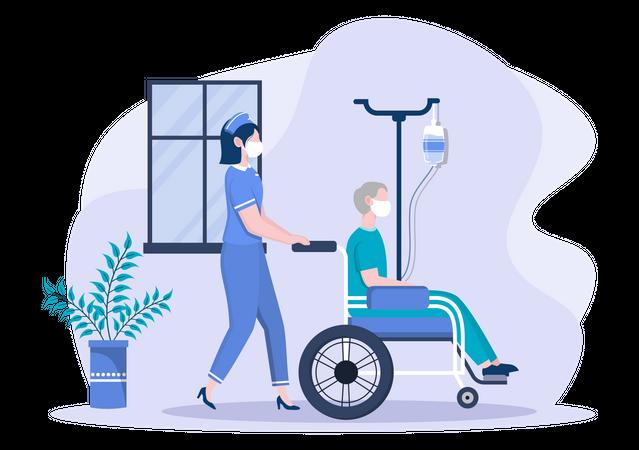 Nurse Pushing Patient on Wheelchair Illustration