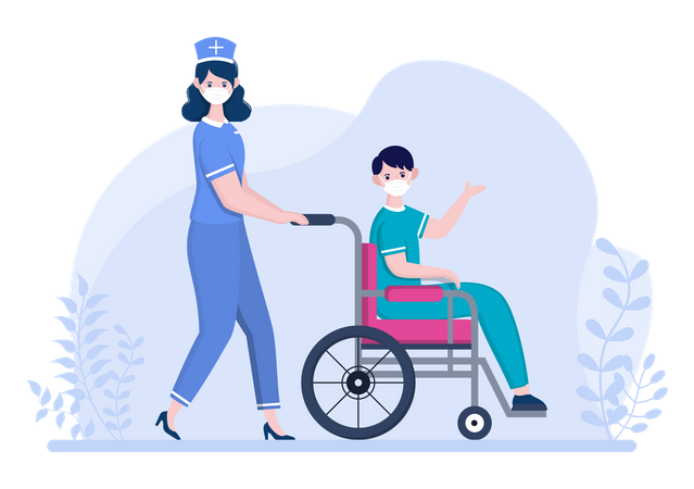 Nurse Pushing Patient with Wheelchair Illustration