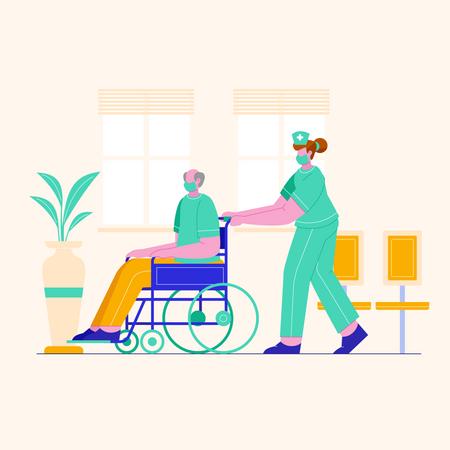 Nurse pushing wheelchair of patient Illustration