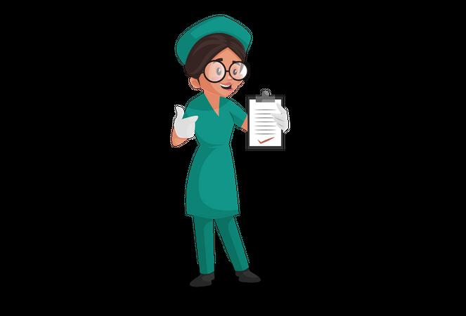 Nurse showing report on clip pad Illustration