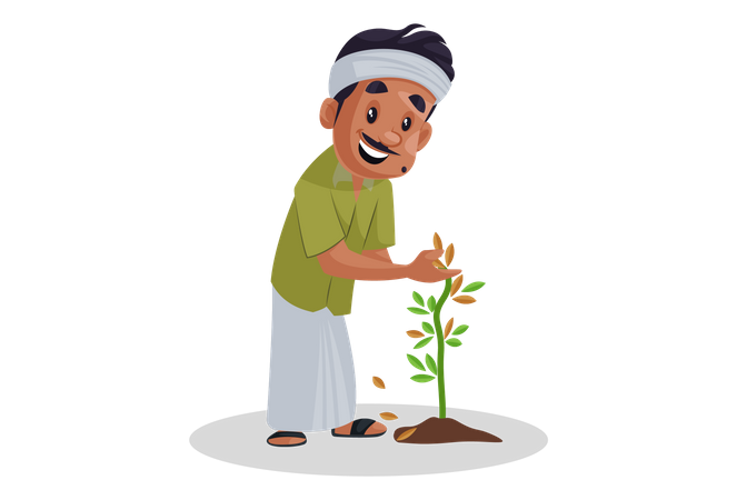 Nursery man taking care of plant Illustration