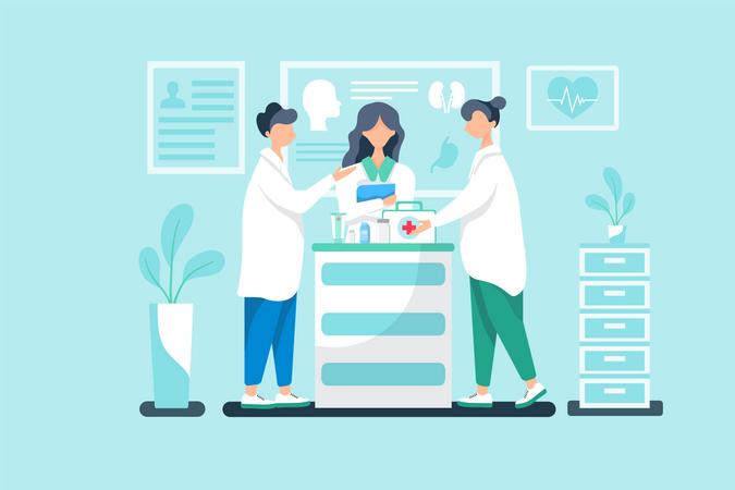 Nurses gossip about patient report Illustration