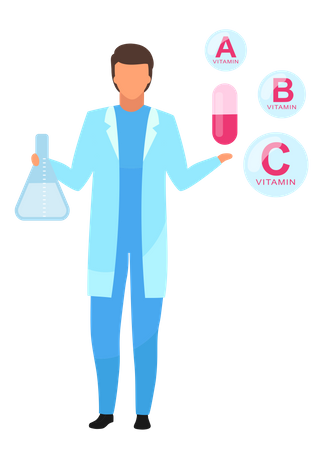 Nutritionist explaining synthetic vitamin components Illustration
