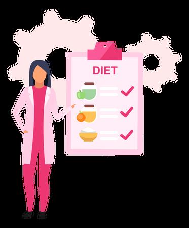 Nutritionist prescribing healthy food for losing weight Illustration